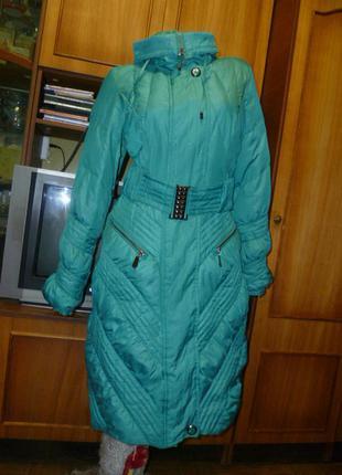 Брендовый пуховик lypuly collection clfssic длинная куртка-пальто цвет морской волны