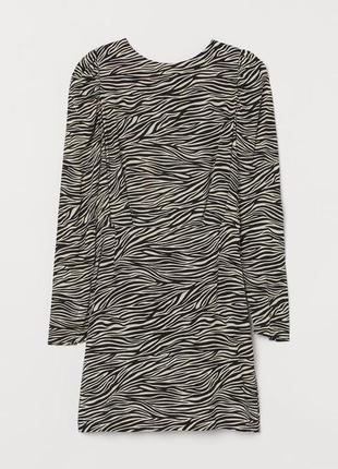 H&m платье с длинным рукавом натуральное принт зебра