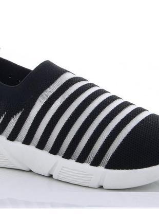 Текстильные кроссовки-мокасины 31-36р черные, арт. 0796