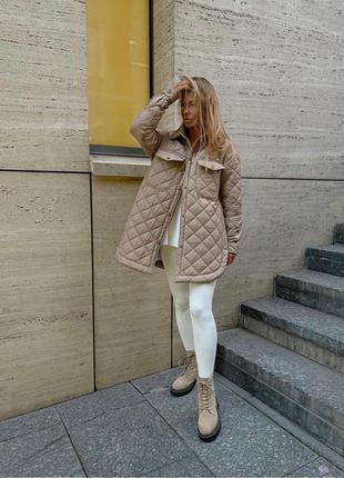 Стёганная куртка с поясом на осень