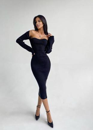 Трикотажное платье рубчик миди с длинными рукавами