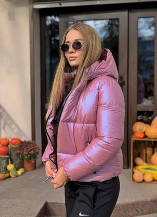 Короткая теплая куртка  с капюшоном
