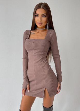 Шикарное короткое платье рубчик