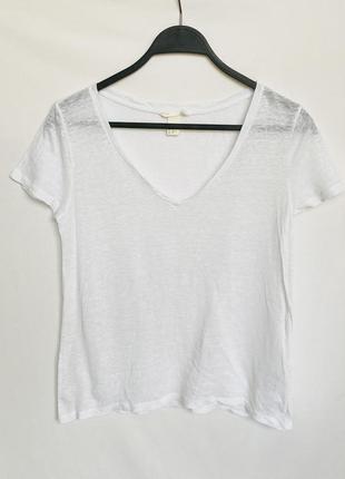 Белая льняная футболка h&m