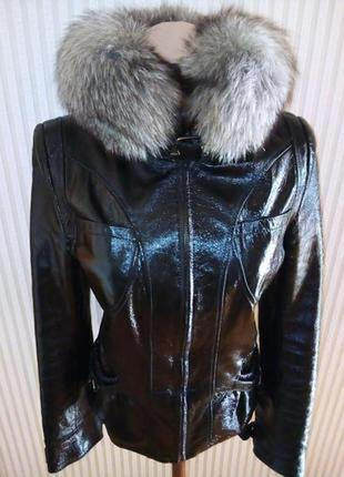 Курточка dehe с натуральной кожи со съемным воротником