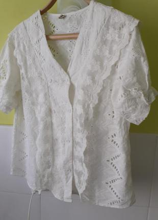 Белая рубашка блуза блузка прошва вышивка ришелье