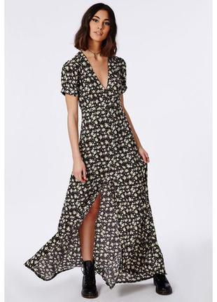 Макси платье в пол missguided uk 10. длинное черное платье в цветочный принт