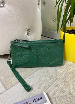 ㊗️  кожаный кошелек-косметичка pudra (зелёный)