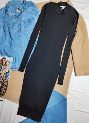 H&m платье чёрное миди длинное по фигуре карандаш футляр с длинным рукавом под горло