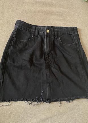 Юбка h&m джинсовая чёрная