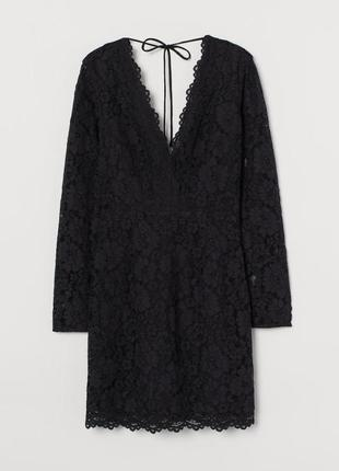 H&m платье чёрное гипюр гипюровое кружево классическое новое с вырезом на спине