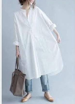 Платье рубашка блуза белая хлопковая оверсайз рубашка белая на море