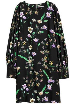 H&m платье прямое трапеция в цветочный принт с длинным рукавом классическое миди