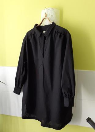 Чёрное базовое платье с длинным рукавом от h&m