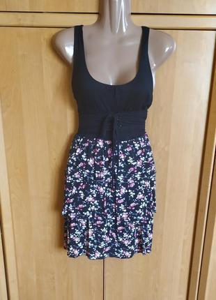 Шикарное платье с корсетом цветочный принт