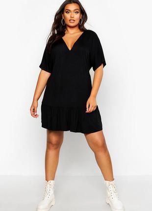 Boohoo чёрное платье большое батальное батал базовое с вырезом