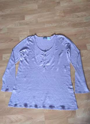 100% льон. батальний лонгслів/блуза/футболка la redoute (франція), р. 42/44 (xl-xxl)