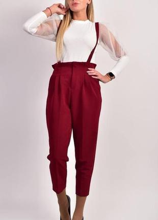 Рр с-л. бордовые красные брюки штаны с подтяжками