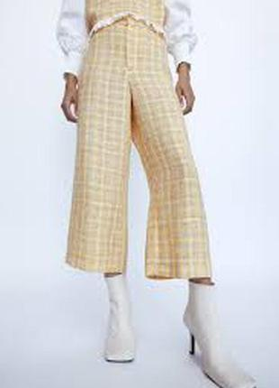 Желтые твидовые штаны брюки zara