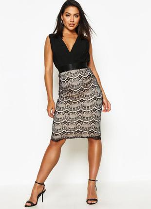 Boohoo платье чёрное на бежевой подкладке кружевное гипюровое по фигуре карандаш футляр