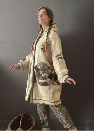 Винтажное шерстяное пальто кардиган кофта кантри ручная вязка vintage retro