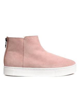 Замшевые  ботинки слипоны утеплённые на меху h&m 38 p