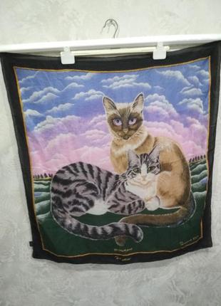 Подписной платок suzanne klee / кошки байелера ручной работы 100% шелк