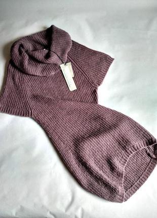 Жилетка с объемным горлом,свитер с коротким рукавом с шерстью альпака