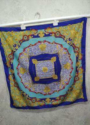 Винтажный брендовый большой шелковый платок piramit