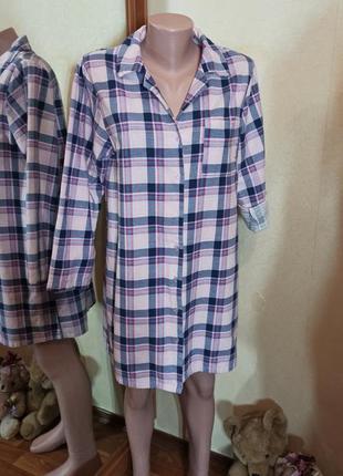 Пижама в клетку ночная сорочка регуляция рукава байка хлопок