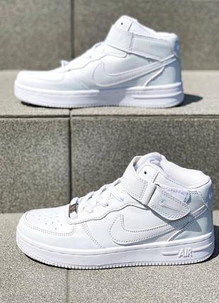 Белые высокие кожаные кроссовки nike air force high