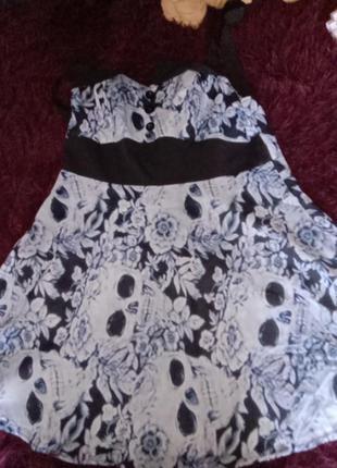 Неформальное платье пин-ап скелеты ретро стиль