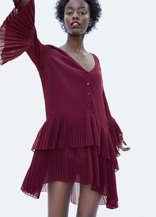 Крутое асеметричное платье блузка плиссе zara❤