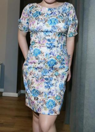 Новое платье с цветочками и бабочками голубое