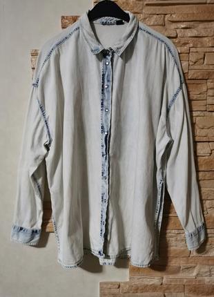 Джинсовая рубашка оверсайз,на кнопках