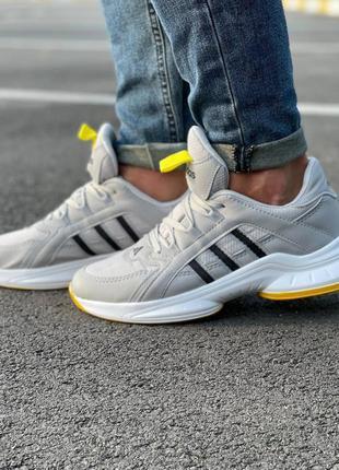 Мужские /унисекс серые с желтым кроссовки adidas осень демисезон