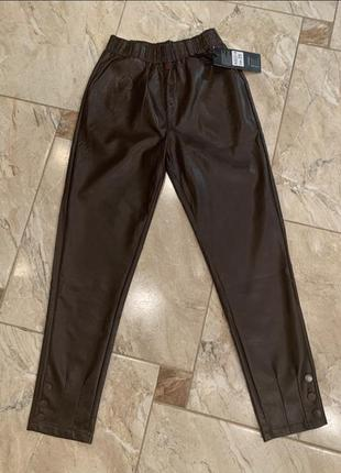 Штаны кожаные коричневые, чёрные, брюки кожаные, штани шкіряні