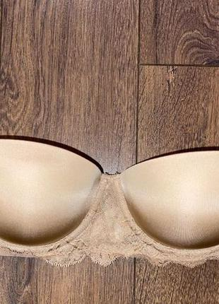 Нюдовый телесный бежевый качественный бюстгальтер пуш-ап calvin klein,80a на маленький размер груди