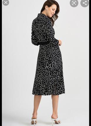 Люксовое платье-рубашка в горошек с поясом американский бренд anne klen