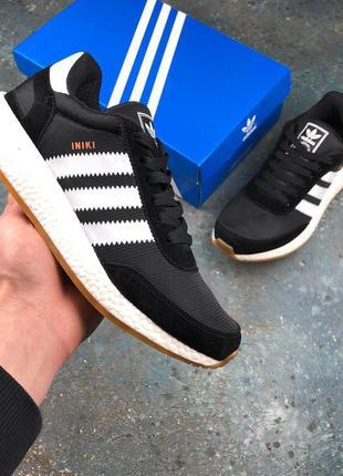 Мужские /унисекс черно-белые кроссовки adidas iniki