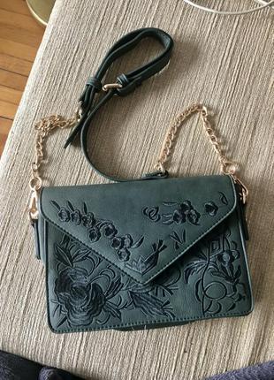 Сумочка вінтаж, смарагдова, темно-зелена сумка через плече