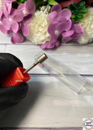Фреза алмазная - цилиндр диаметр 5 мм, рабочая часть 7 мм, красная