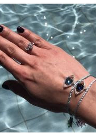 Fiore jewelry браслет оберег бордовый глаз в камнях серебро 925 на шелковой нити с кисточками