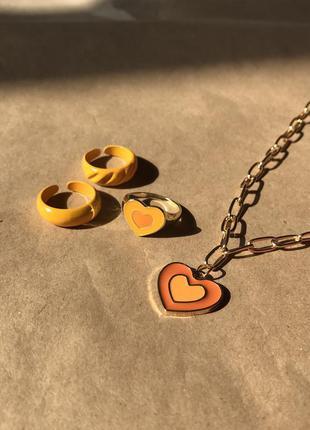 Набор подвеска и кольца с сердечками