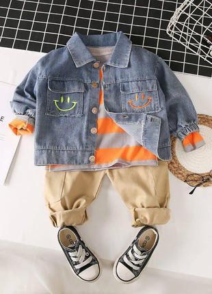 Детский костюм тройка с джинсовкой 92, 98, 110, 122 см