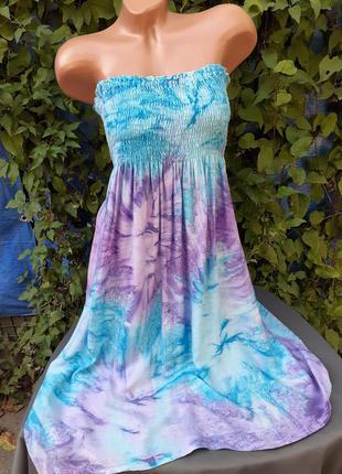 Яркое платье бюстье голые открытые плечи сарафан на резинке