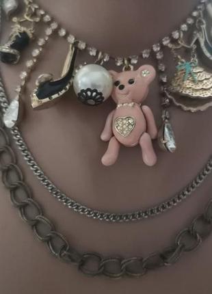 Винтажное колье  ожерелье с подвесками