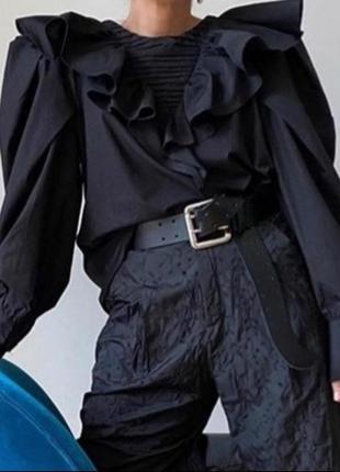 Блуза с оборками рукавами буфами zara