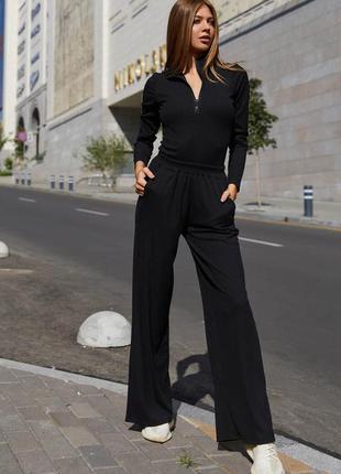 Брюки-кюлоты джингл черный jadone fashion