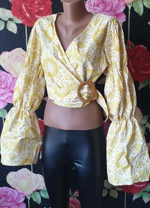 Блузка укороченная на запах,с пышными рукавами р 40 42